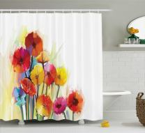 "Ambesonne Flower Shower Curtain, Gerbera Bouquets Romantic Floral Arrangement Blossom Side of The Nature, Cloth Fabric Bathroom Decor Set with Hooks, 70"" Long, Orange Yellow"