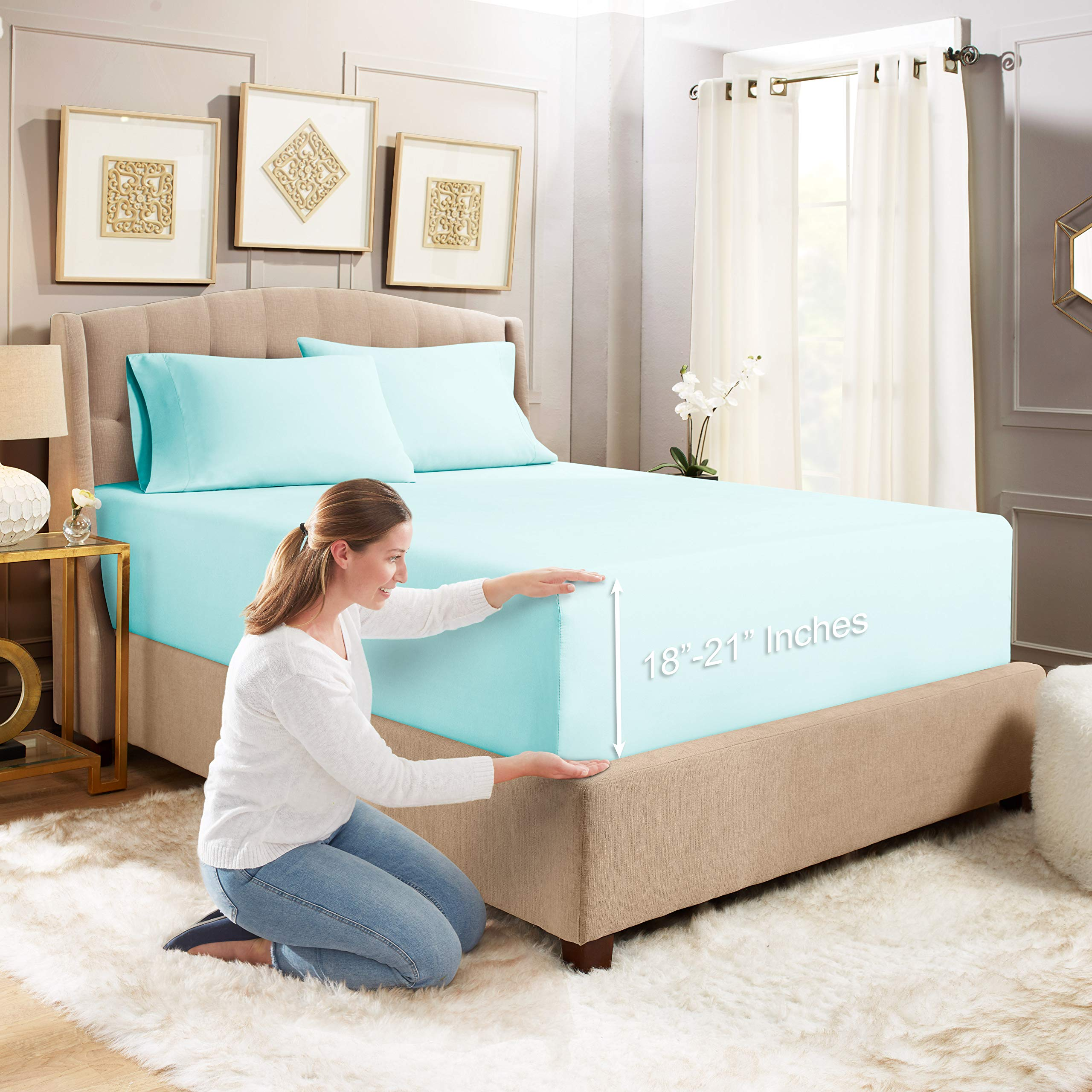 """Empyrean Bedding 3 Set 21"""" Extra Deep Pocket Fitted Sheet with Corner Straps–Double Brushed Microfiber Sheet and Pillowcase Set - 110 GSM – Hypoallergenic Wrinkle Free Sheet, Baby Blue - Queen"""