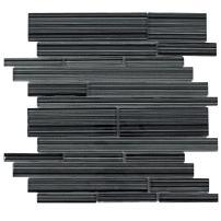 MTO0016   Modern Linear Black Glossy Glass Tile