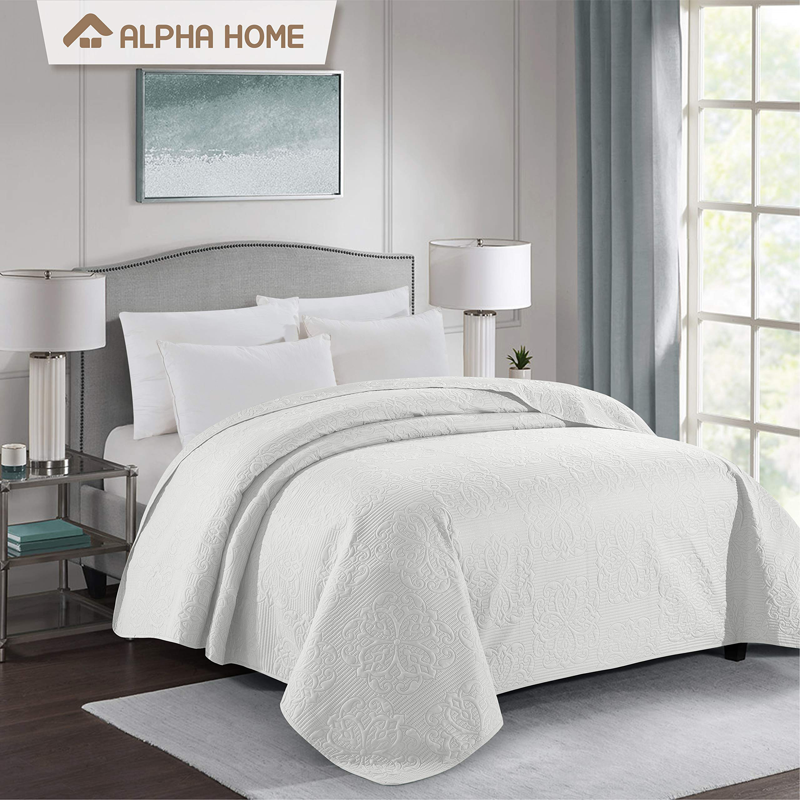 ALPHA HOME Bed Quilt Bedspread and Coverlet, Queen Size, Ivory