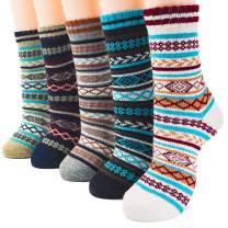 Packs of 5 Crew Socks Women Wool Fuzzy Winter Colored Knit Sox Striped By JIYE