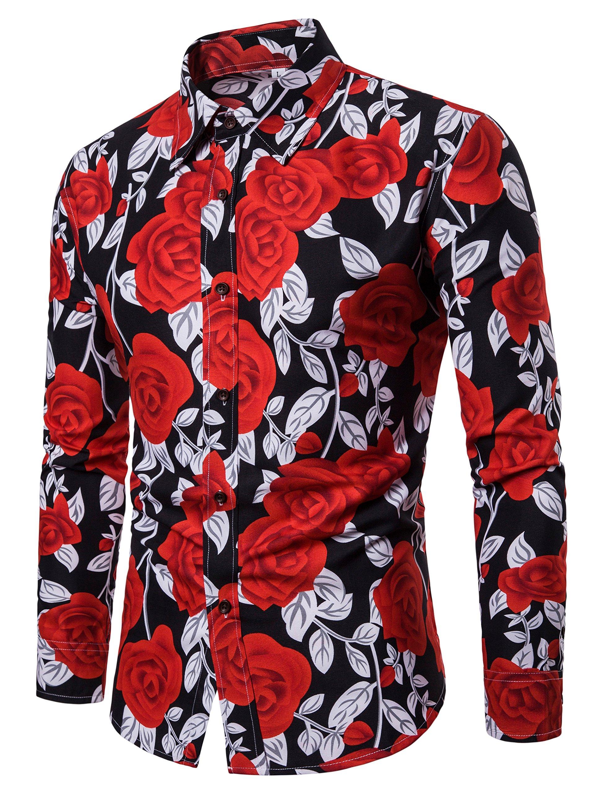 LEFTGU Men's Rose Flower Printed Summer Fashion Slim fit Button-Down Shirt