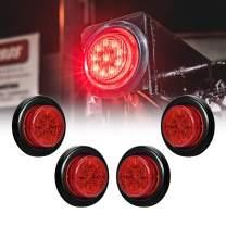 "4pc 2"" Red Round Trailer LED Clearance Marker Lights [DOT FMVSS 108] [SAE P2] [Reflector Lens] [Grommet] [Flush-Mount] [Waterproof IP67] Marker Clearance Lights for Trailer Truck"