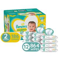 Diapers Size 2, 186 Count and Baby Wipes - Pampers Swaddlers Disposable Baby Diapers, ONE Month Supply with Pampers Sensitive Water Baby Wipes, 12X Pop-Top Packs, 864 Count