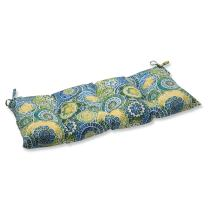 """Pillow Perfect 535340 Indoor/Outdoor Omnia Lagoon Swing/Bench Cushion,Blue,44"""" x 18.5"""""""