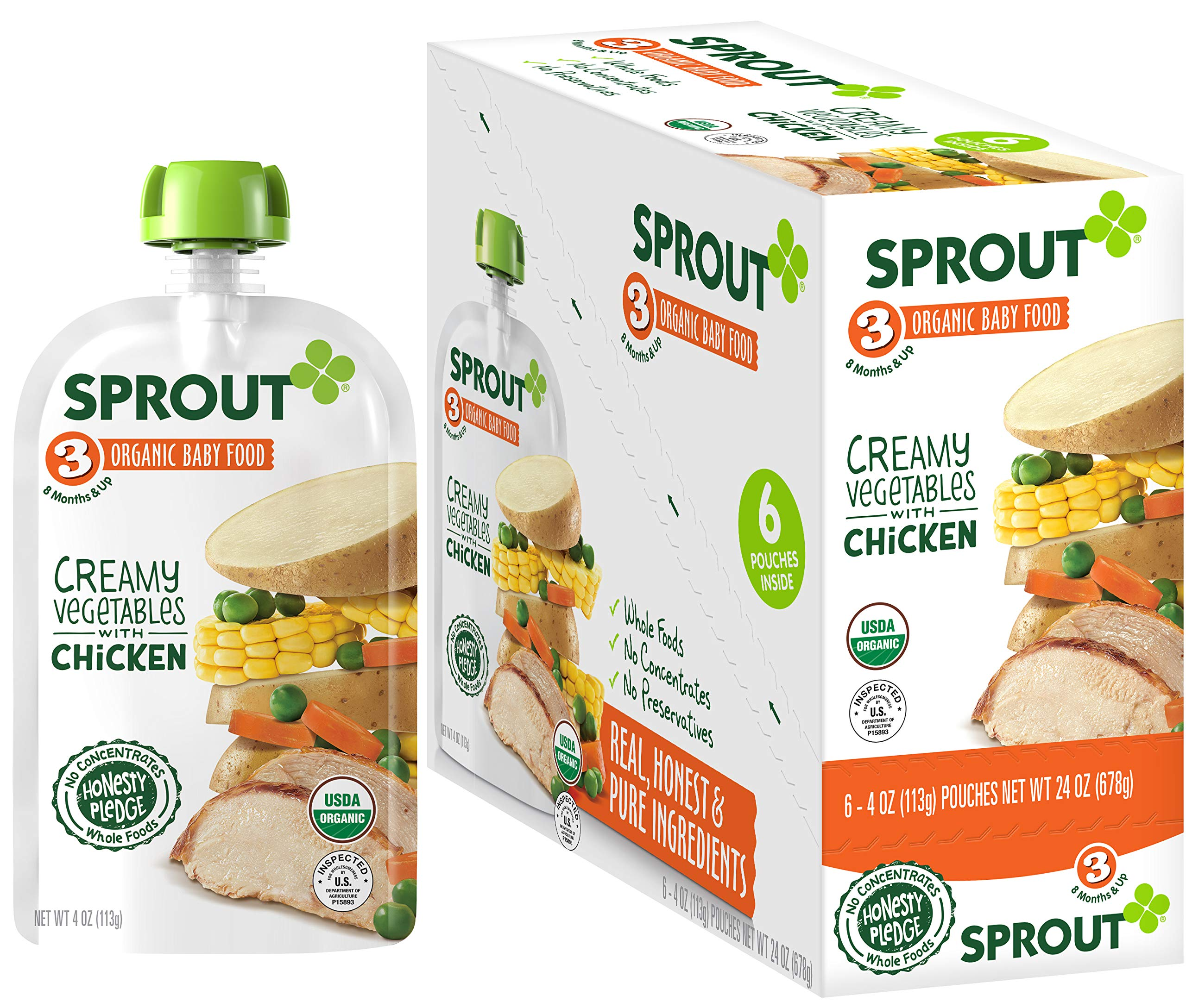 Sprout Organic Stage 3 Baby Food Pouches, Creamy Vegetables w/ Chicken, 4 Ounce (Pack of 6)