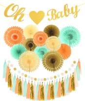 Baby Shower Decorations Gender Neutral, Gender Neutral Baby Decoration, OH Baby with Heart Banner for Baby Shower | Mint Gold Glitter Peach Cream Baby Shower Decorations | Gender Reveal Baby Shower Party Decorations | Neutral Boy Girl