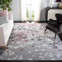 Safavieh Adirondack Collection ADR115M Light Grey and Purple Contemporary Floral Area Rug (10' x 14')