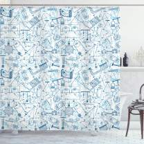 "Ambesonne School Shower Curtain, Physics Themed Drawing a Pattern of Formulas Related to The Field Doodle Art, Cloth Fabric Bathroom Decor Set with Hooks, 75"" Long, Blue Pale Blue"