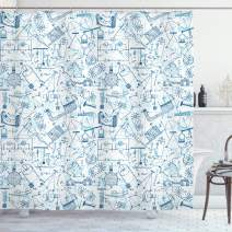 """Ambesonne School Shower Curtain, Physics Themed Drawing a Pattern of Formulas Related to The Field Doodle Art, Cloth Fabric Bathroom Decor Set with Hooks, 75"""" Long, Blue Pale Blue"""