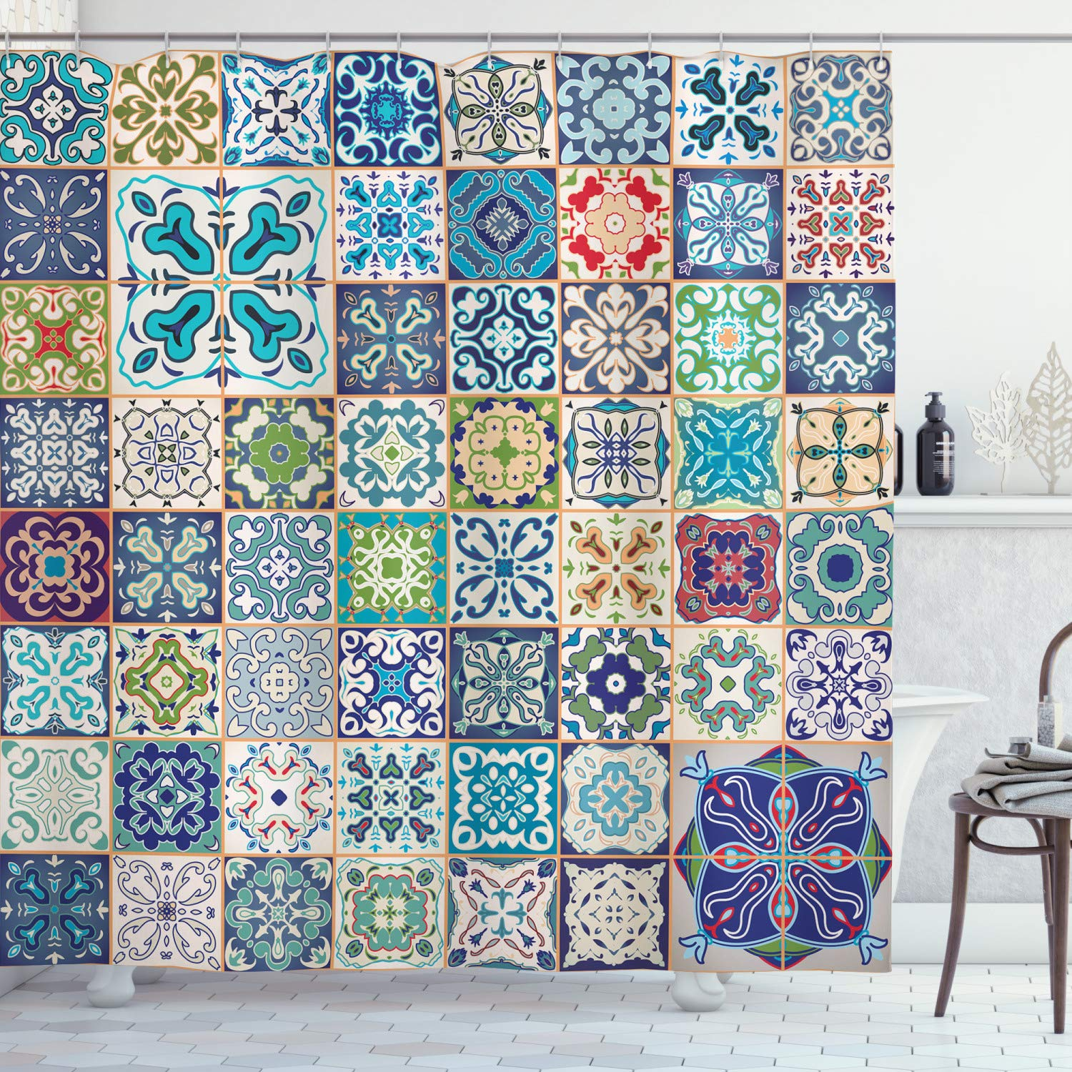 """Ambesonne Moroccan Shower Curtain, Floral Patchwork Design with Mediterranean Symbolic Artisan Work, Cloth Fabric Bathroom Decor Set with Hooks, 75"""" Long, Turquoise Navy"""