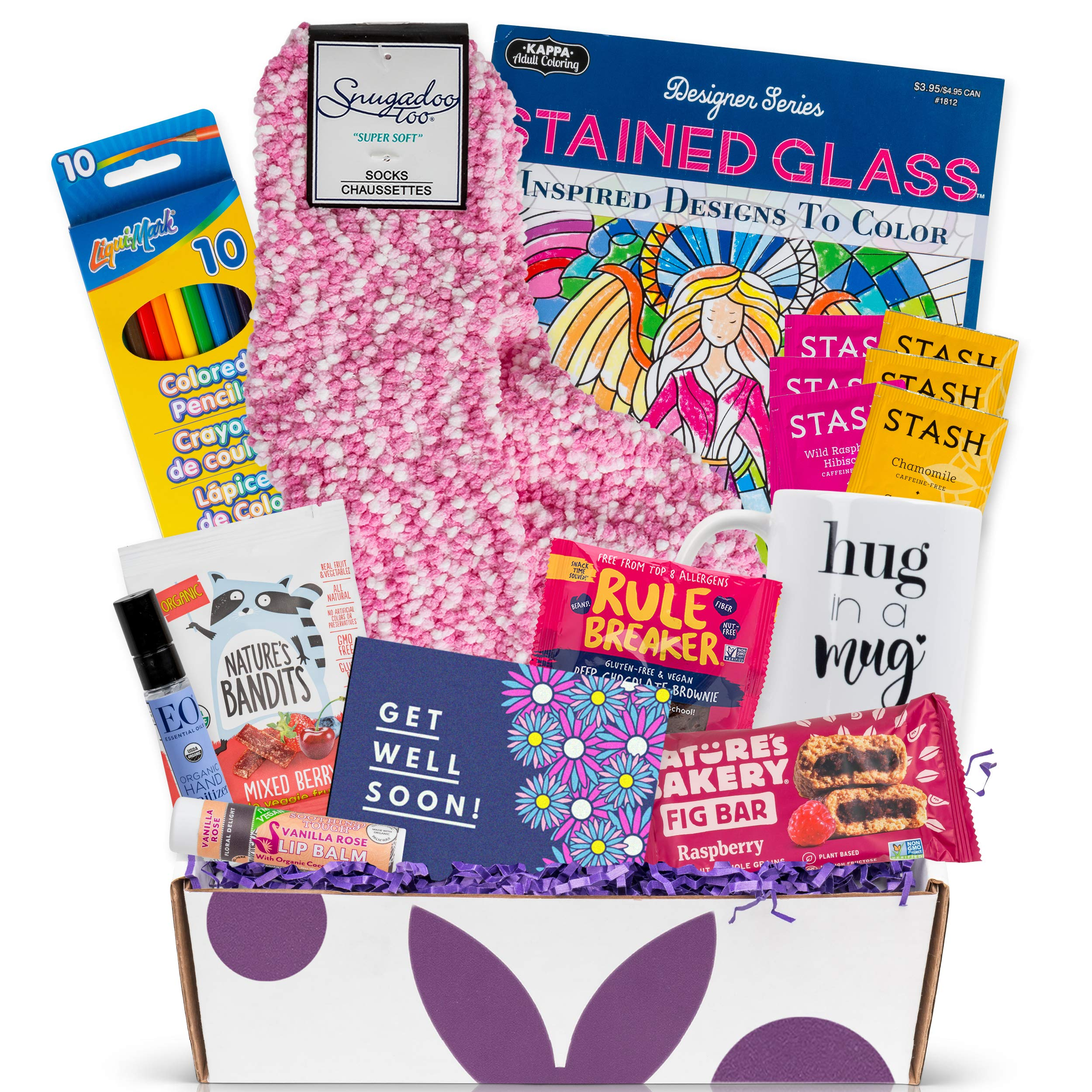 Healthy Vegan Snack Get Well Soon Gift Box, Healthy Snacks, Comfy Socks, Coloring Book and Colored Pencils, Funny Mug, Cute and Healthy Get Well Care Package