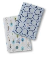 SwaddleDesigns Baby Burpies, Set of 2 Cotton Burp Cloths, True Blue Jewel Tone Mod Circles with Cute and Calm