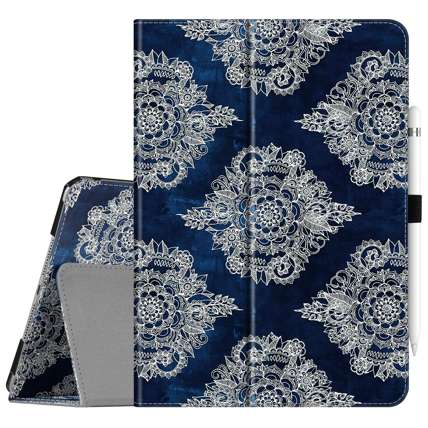 """Fintie Folio Case for New iPad 7th Generation 10.2 Inch 2019 - [Corner Protection] Premium Vegan Leather Smart Stand Back Cover with Pencil Holder, Auto Sleep/Wake for iPad 10.2"""", Indigo Dreams"""