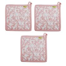 """Set of 3 Pot Holders, 100% Cotton of Size 8""""X8 Inch, Eco-Friendly & Safe, Pink Baroque Design for Kitchen"""