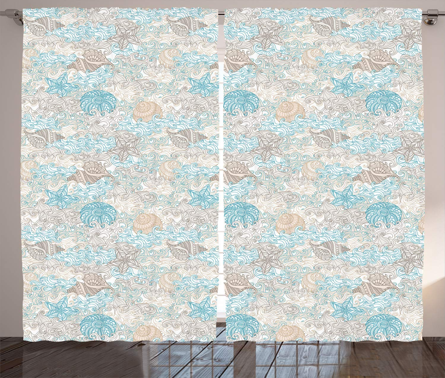 """Ambesonne Nautical Curtains, Pastel Toned Sea Shell Starfish Mollusk Seahorse Coral Reef Motif Design, Living Room Bedroom Window Drapes 2 Panel Set, 108"""" X 108"""", Tan Turquoise"""