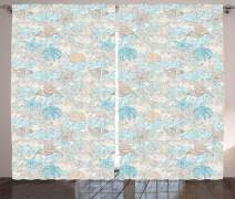 "Ambesonne Nautical Curtains, Pastel Toned Sea Shell Starfish Mollusk Seahorse Coral Reef Motif Design, Living Room Bedroom Window Drapes 2 Panel Set, 108"" X 108"", Tan Turquoise"