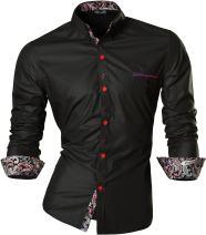 jeansian Men's Slim Long Sleeves Casual Button Down Dress Shirt Z027 Black M