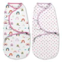 """SwaddleMe Original Organic Swaddle 2-pk, 100% Organic Cotton Adjustable Baby Wrap, Small (0-3 Months, 7-14 lbs, up to 26""""), Chasing Rainbows"""