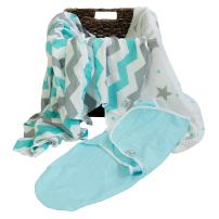 Natural Snuggles Newborn Bamboo Swaddle Wraps | Baby Blankets 3 pk: Wrap & Two Bamboo Muslin Square Receiving Blankets to Help Infants Sleep Soundly- Light Blue & Grey Stripes & Stars Registry!