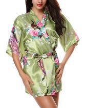 Avidlove Women's Kimono Robes Peacock and Blossoms Silk Nightwear Short Style