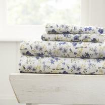 Simply Soft Ultra Soft 4 Piece Sheet Set, Queen, Blossoms Light Blue