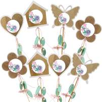 Bstaofy Easter Decorations Spring Garden Stakes Wooden Sticks Plant Pick for Lawn, Assorted Decorative Craft Butterfly,Bird,Heart and Flower, Kit of 8 (Style 1)