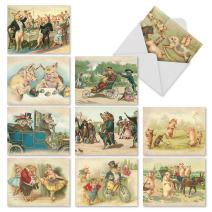 10 All-Occasion Note Cards with Envelopes 4 x 5.12 inch, Assorted 'Hog Humor' Blank Greeting Cards, Stationery for Birthdays, Holidays, Thank Yous M2346OCB