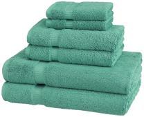 Pinzon Organic Cotton Bathroom Towels, 6 Piece Set, Mineral Green