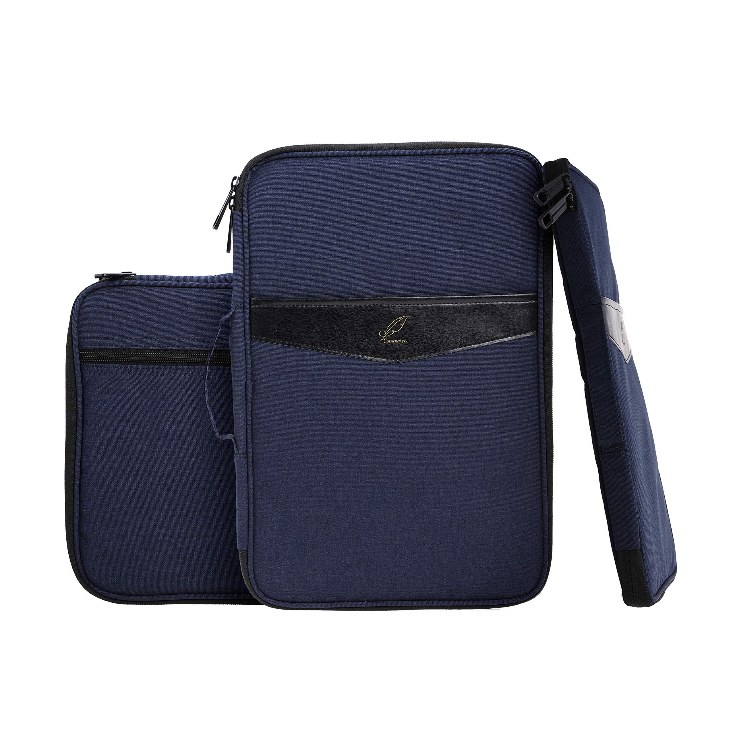"Lazyaunti Zipper Portfolio Organizer A4 Note Pouch-Waterproof Document Bags/Zipper Binder/Paper Case for 14.5"" Mac,Tablet,Pens,washi Tape,Journals,Sketch Books (Dark Navy Blue)"