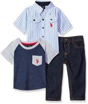 U.S. Polo Assn. Baby Boy's Short Sleeve Shirt, T-Shirt and Pant Set Pants