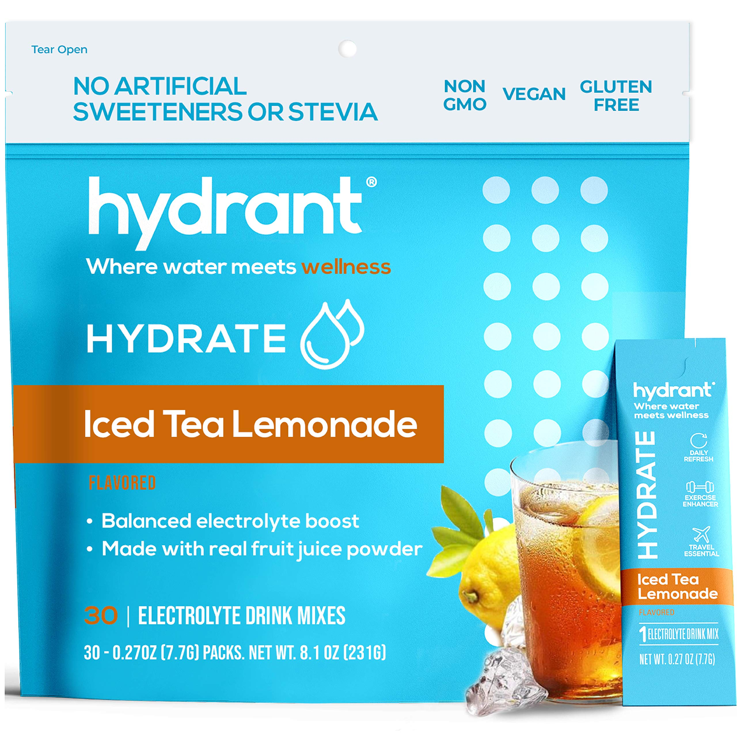 Hydrant Hydrate Iced Tea Lemonade 30 Stick Packs, Electrolyte Powder Rapid Hydration Mix, Hydration Powder Packets Drink Mix, Helps Rehydrate Better Than Water