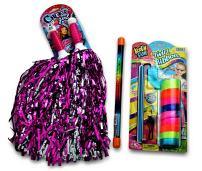 JA-RU Cheerleader POM POMS, Glitter Baton and Ribbon Dance and Cheer Set D1