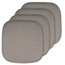 """Sweet Home Collection Memory Foam Chair Cushion Honeycomb Pattern Solid Color Slip Non Skid Rubber Back Ultimate Comfort and Softness Rounded Square 16"""" x 16"""" Seat Cover, 4 Pack, Silver"""