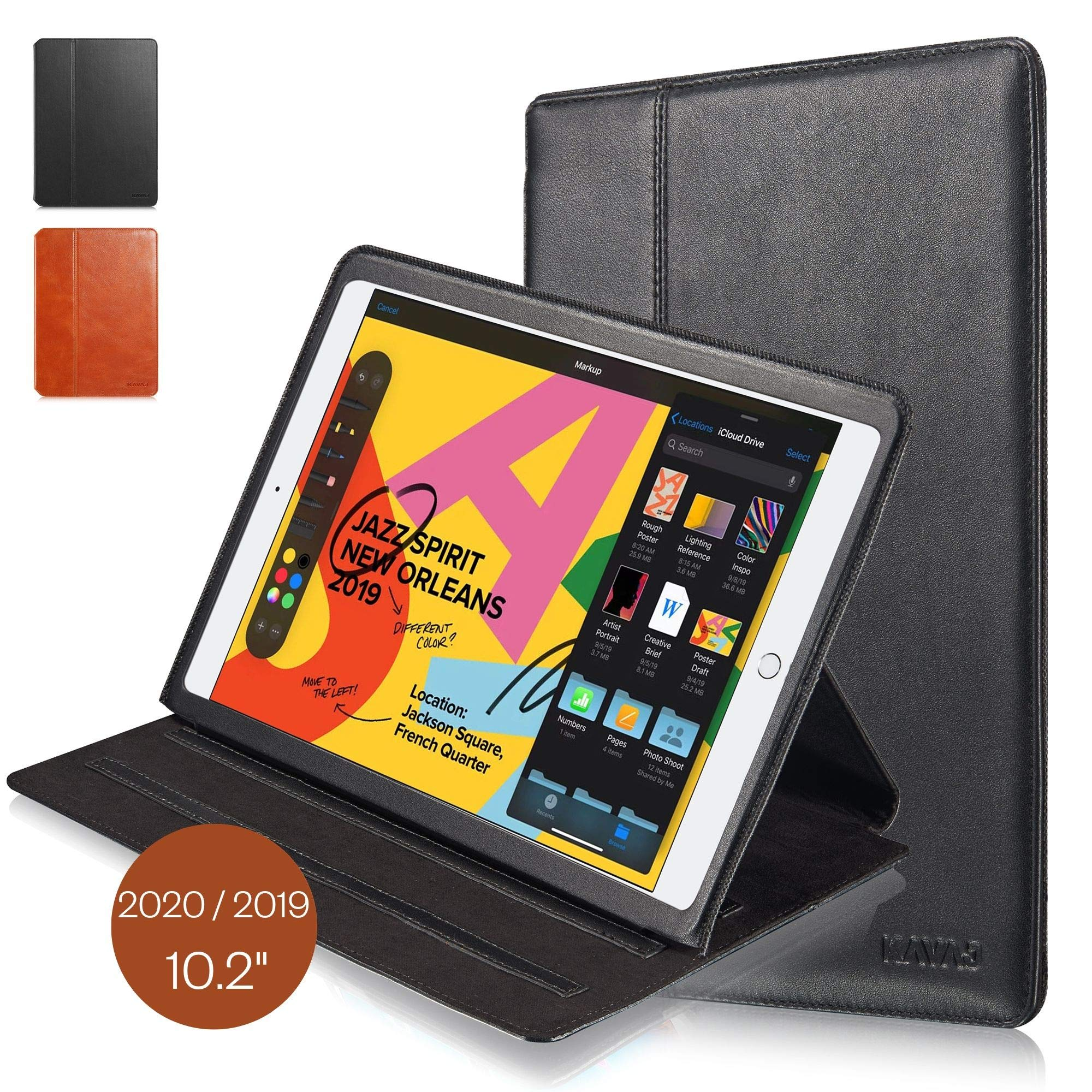 """KAVAJ Case Leather Cover Hamburg Works with Apple iPad 2019 10.2"""" Black Genuine Cowhide Leather with Built-in Five Stand Auto Wake/Sleep Function. Slim Fit Smart Folio Covers"""