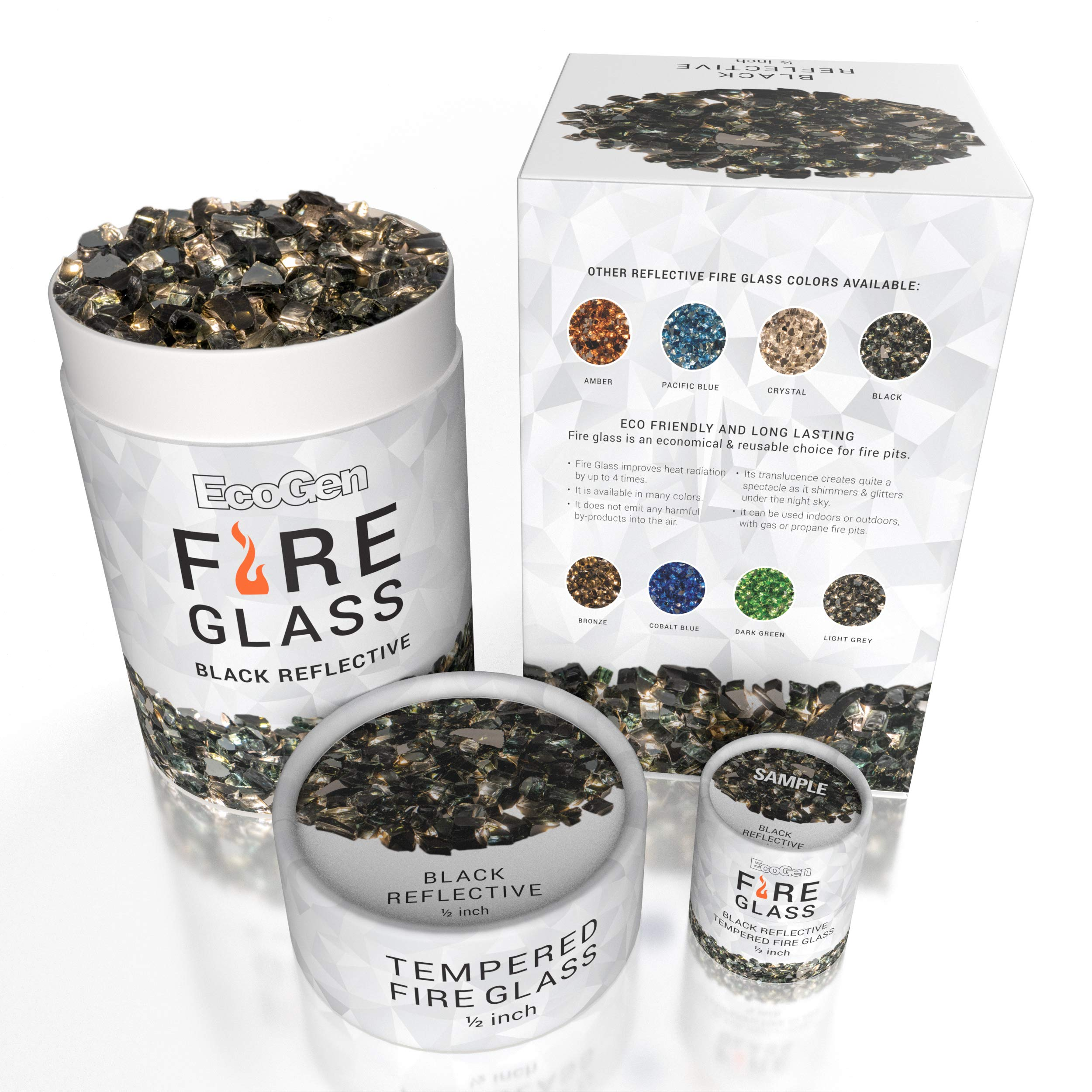 EcoGen Fire Glass Rocks for Outdoor Fire Pits and Indoor Fireplace, Color, Optimal Heat for Propane or Gas, Tempered and Reflective, Eco-Friendly Packaging, Black 1/2 inch Reflective 3oz Sample.