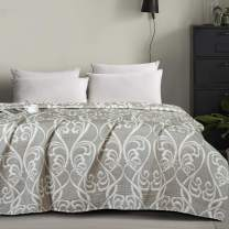 NTBAY Multilayer Muslin Natural Cotton Twin Bed Blanket, 68 x 92 Inches, Grey Paisley