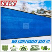 ColourTree 6' x 50' Blue Fence Privacy Screen Windscreen, Commercial Grade 170 GSM Heavy Duty, We Make Custom Size