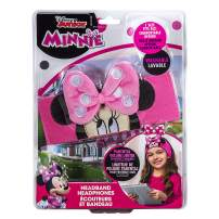 Minnie Mouse Headband Earphones for Girls & Toddlers| Comfy Cotton Headband, Cool, Cute, Pink Over-Ear Headphones for School, Home, Travel-iPad, Tablet, Computer| Volume Limiting, Thin Speakers