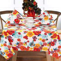 "Ruvanti Table Cloth (60X70"") 4-6 Seats. Wrinkle Free 100 % Cotton Rectangle Tablecloth, Washable / Reusable Multi Color Flowers Table Cloths, Table Cover for Christmas / Thanks Giving Dinners."