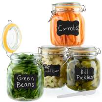 Galashield Glass Jars with Lids Food Storage Jars with Airtight Lids Leak Proof Glass Canisters Kitchen Jars [Set of 4 - 33 oz]