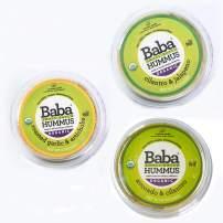 Baba Small Batch Organic Hummus (8 oz, 3 Pack) - USDA Organic, Gluten Free, Vegan, Non-GMO, Cholesterol Free (Cilantro/Jalapeno, Garlic/Artichoke, Avo/Cilantro)
