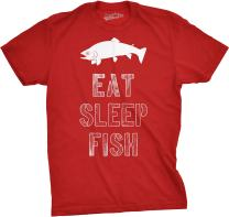 Mens Eat Sleep Fish T Shirt Funny Sarcastic Novelty Fishing Lover Gift for Dad