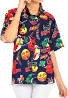 HAPPY BAY Men's Camp Hawaiian Scary Halloween Party Costume Pumpkin Witch Shirt