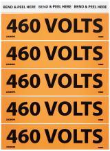 """NMC JL22043O Electrical Marker, Legend""""460 Volts"""", 4-1/2"""" Length x 1-1/8"""" Height, Pressure Sensitive Vinyl, Black on Orange (Pack of 25)"""