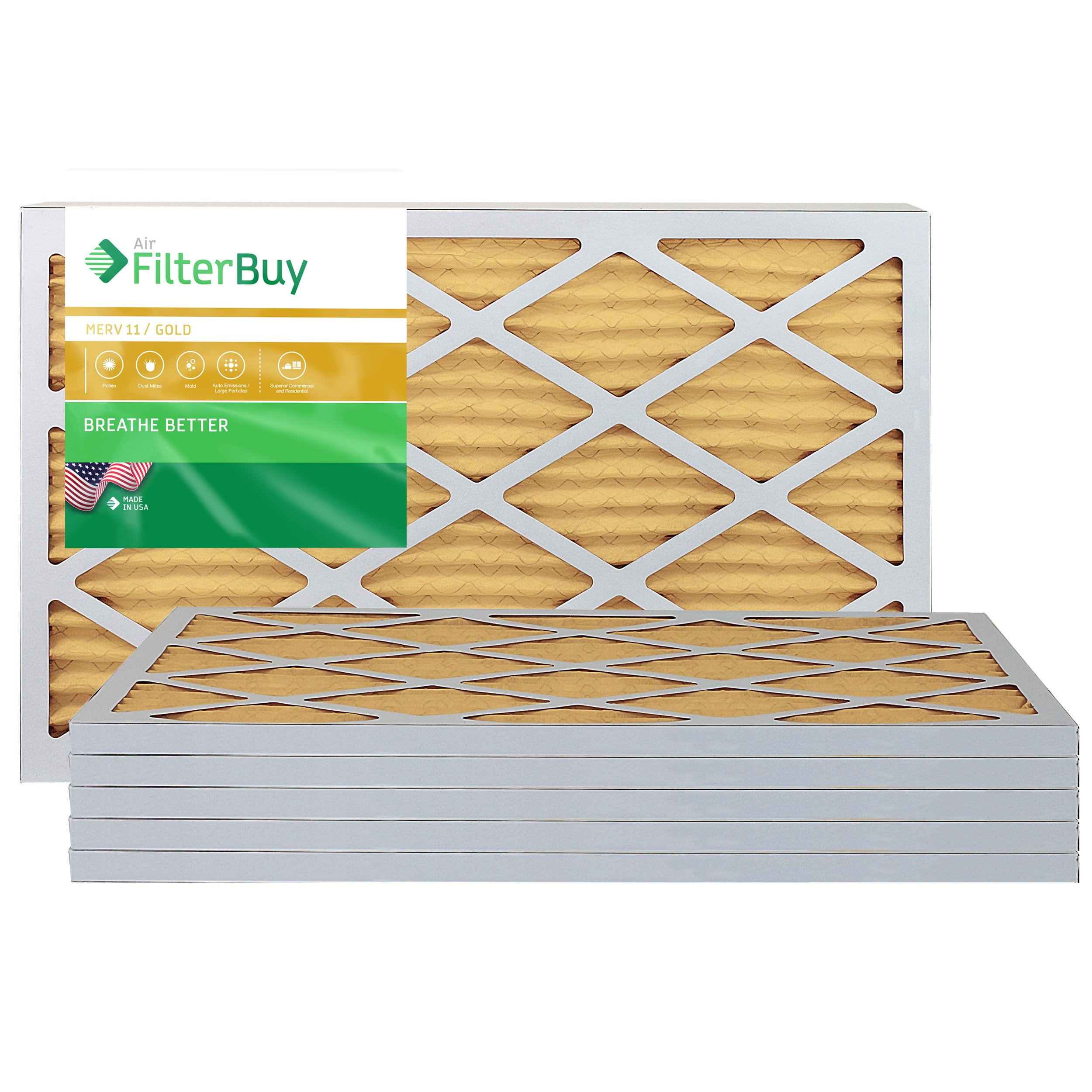 FilterBuy 14x20x1 MERV 11 Pleated AC Furnace Air Filter, (Pack of 6 Filters), 14x20x1 – Gold