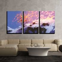 """wall26 - 3 Piece Canvas Wall Art - Fantasy Landscape Showing Bare Tree in Winter with Glowing Snow - Modern Home Decor Stretched and Framed Ready to Hang - 16""""x24""""x3 Panels"""