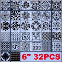 """AK KYC Stencils Mandala Painting Stencil Stencils for Painting (6x6 inch Small Size) on Wood Wall Floor Tile Fabric Furniture Decor Mandala Dotting Tools Reusable (Style 4(6"""" 32PCS))"""