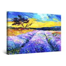 Startonight Canvas Wall Art - Lavender Field Purple Painting Landscape, Framed 32 x 48 Inches