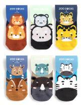ZOO SOCKS Boys 6 Pack Animal Printed Anti-Slip Ankle Socks Boys Set 001